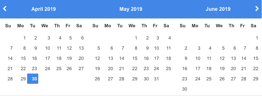 Datepicker showing three months ahead