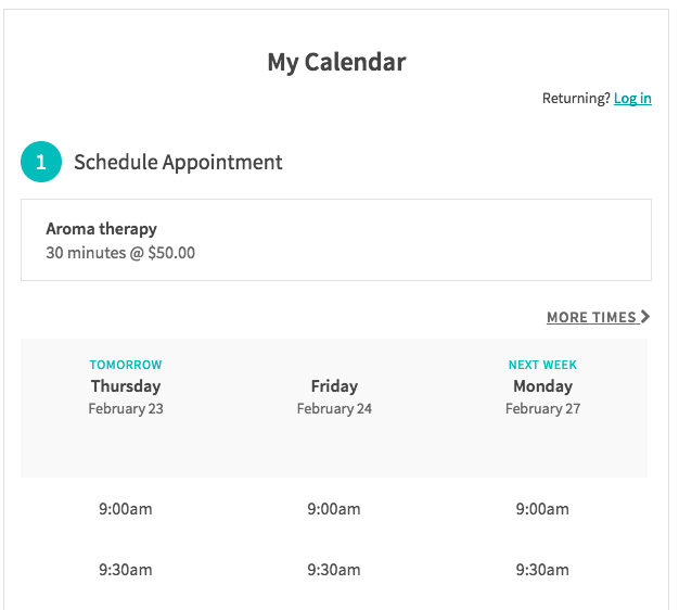 Acuity Scheduler on a Squarespace website