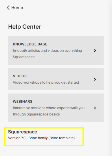 How to view your Squarespace template name and version