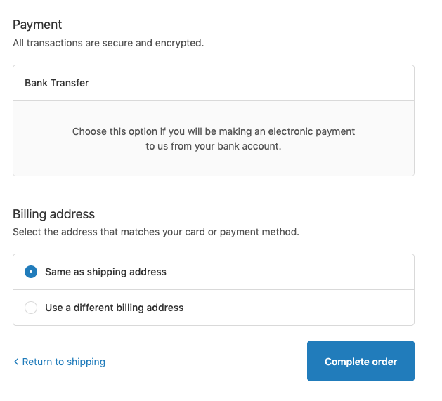 Manual payment option (Bank Transfer) in the checkout