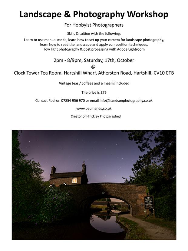 Paul Hands Photography, Landscape & Photography Workshop, Hartshill, Atherstone, Nuneaton, Warwickshire, Hinckley Photographed, Leicestershire, Midlands, England, UK, Europe