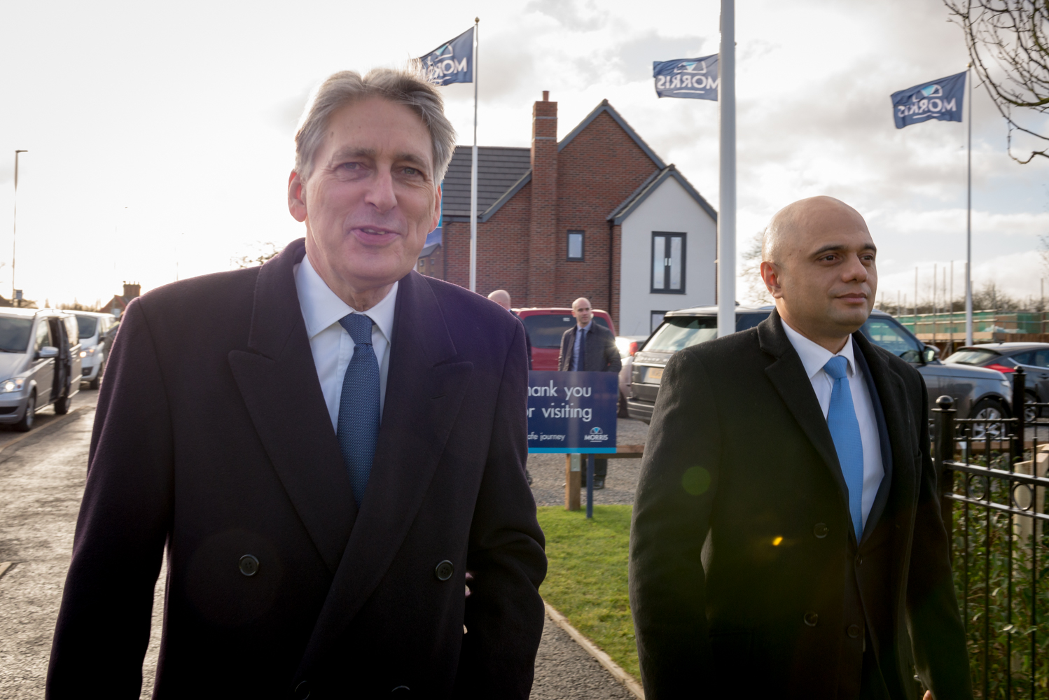 Phillip Hammond and Sajid Javid visiting a Morris Homes building site in Leicester.