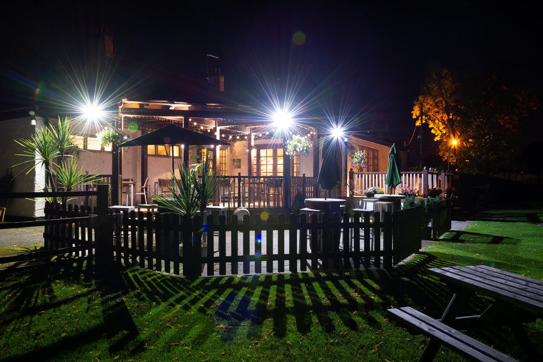 The Bulls Head terrace at night