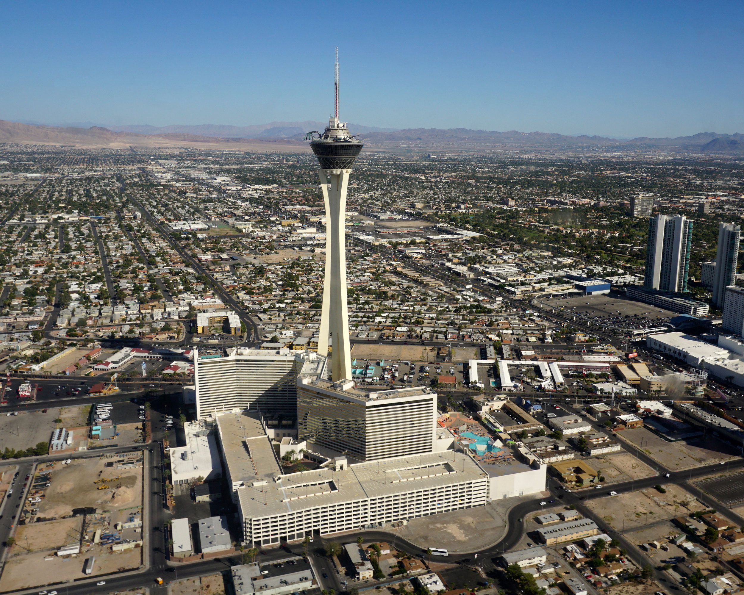 The Stratosphere Casino, Hotel, & Tower. Pro tip - if you say you're just going to the bar, you can ride the elevator up for free. Tell 'em Jack sent ya! (don't tell them this).