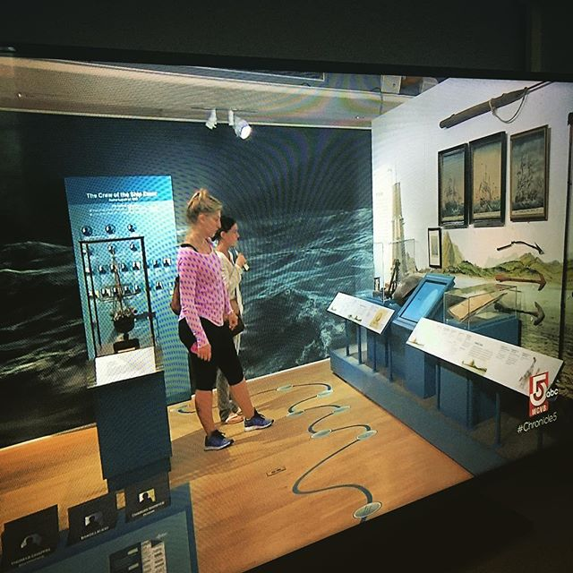 "Certainly not the greatest photo we've ever taken, but couldn't resist. It was wonderful to see our ""Stove by a Whale"" temporary exhibit at @ackhistory make a cameo on @chronicle5. The permanent version is currently on display at the Nantucket Whaling Museum, be sure to check it out! #nantucket #ack #whaling #museum #essex #whaleshipessex"