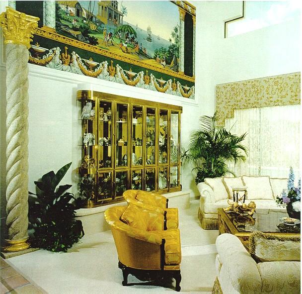 zubar  portrait installation and 24 kt gold columns