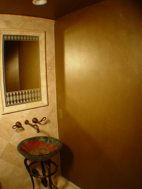 metallic color wash faux finish bathroom