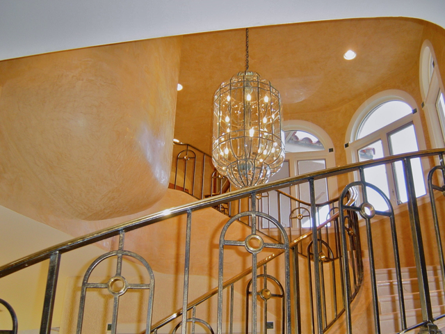 venetian plaster walls and staircase