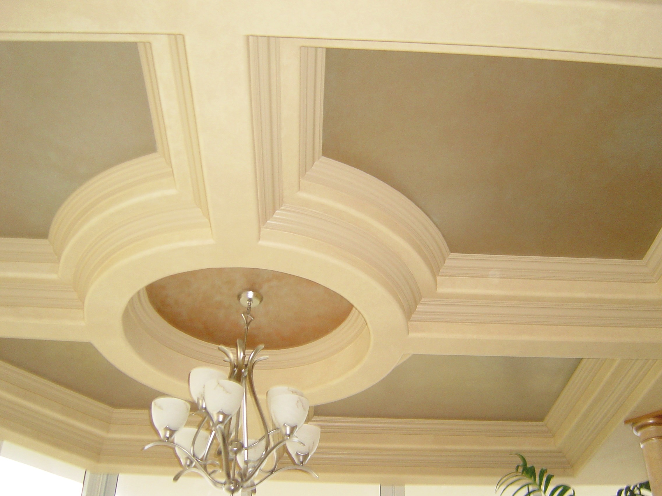 silver gold faux finish tray ceiling overhead