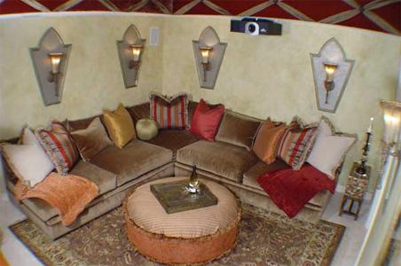 custom movie theater. 100% custom furniture and lighting