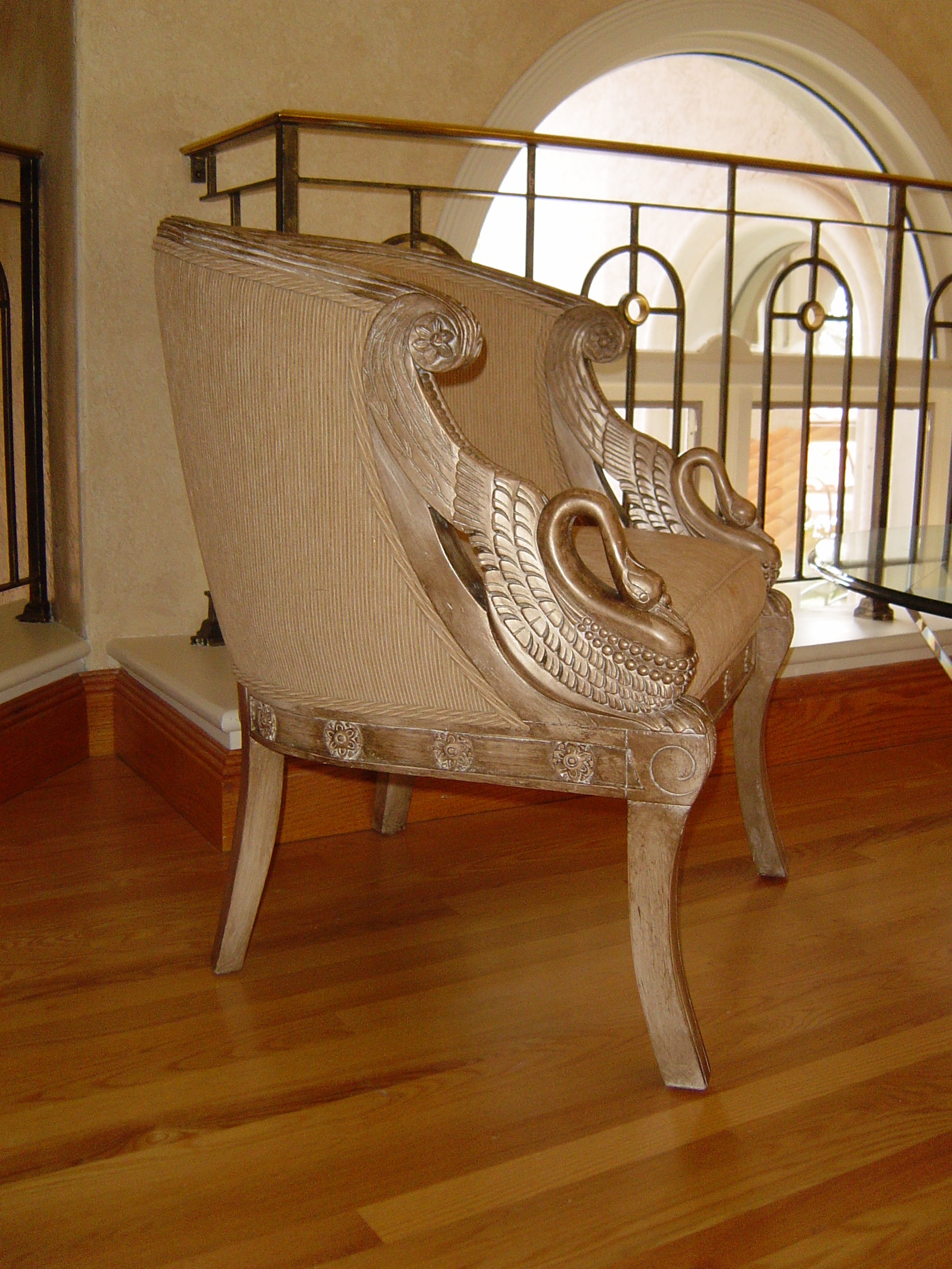 hand carved custom faux finished chair