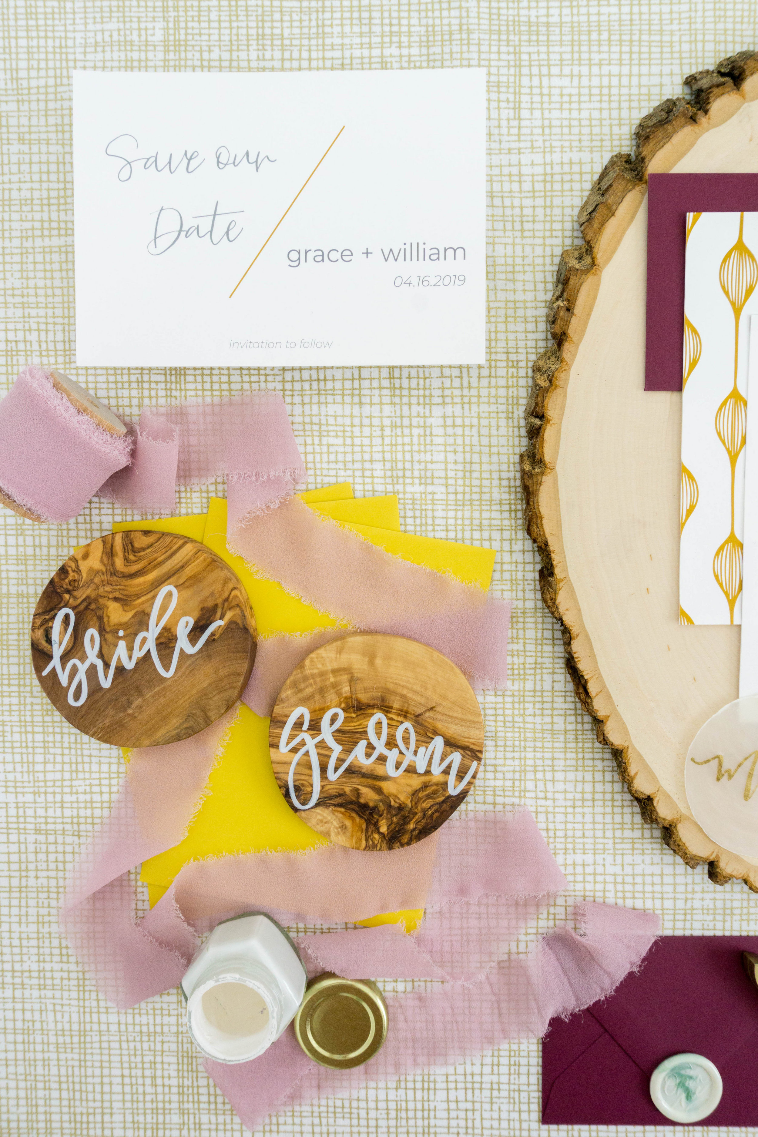 love-fern-design-studio-custom-wedding-invitations-for-the-modern-couple-modern-calligraphy-in-seattle-washington-custom-wedding-stationery-maroon-gold-yellow-wood-place-cards