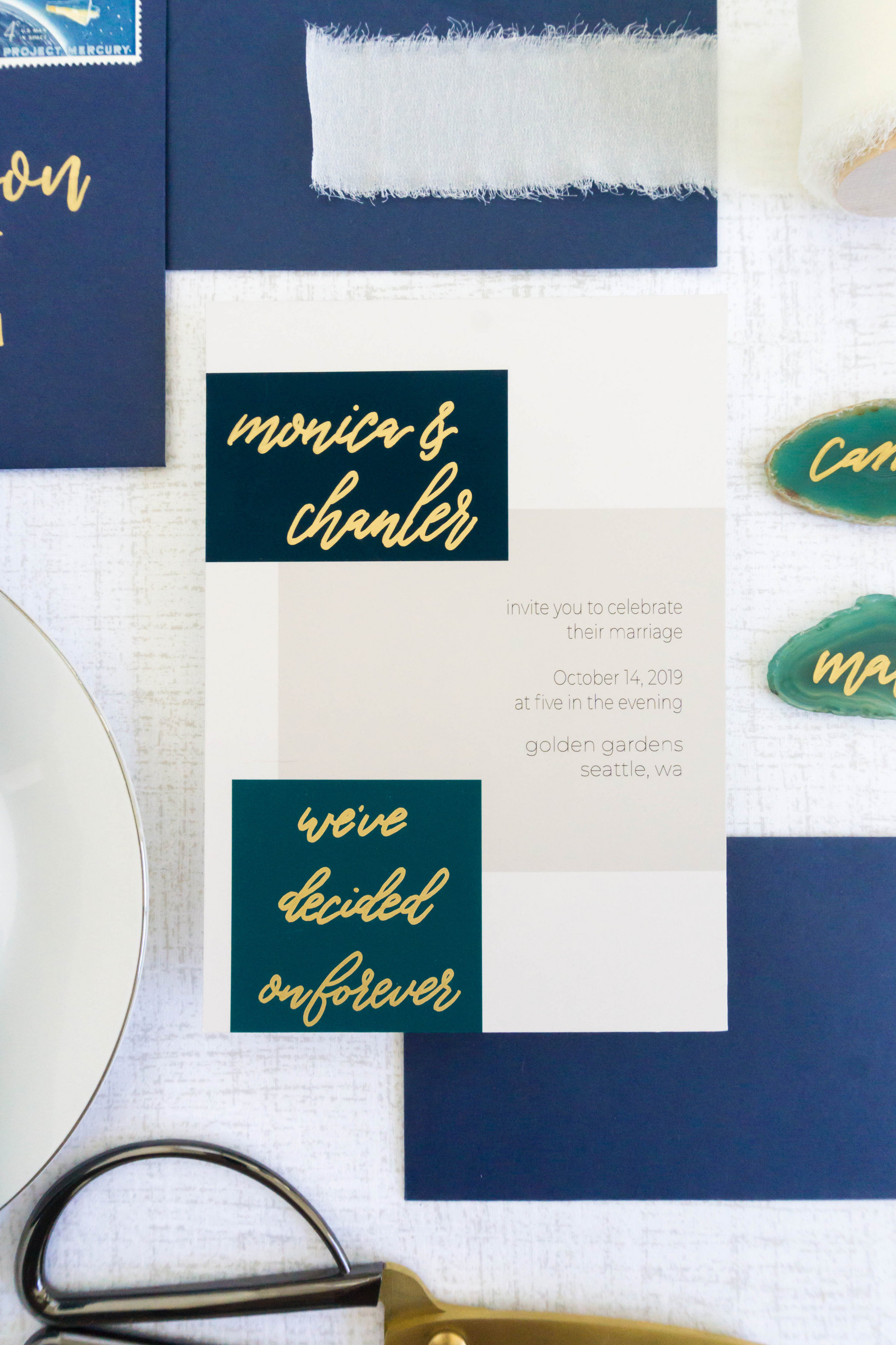 love-fern-design-studio-custom-wedding-invitations-for-the-modern-couple-modern-calligraphy-in-seattle-washington-custom-wedding-stationery-navy-teal-gold-color-block
