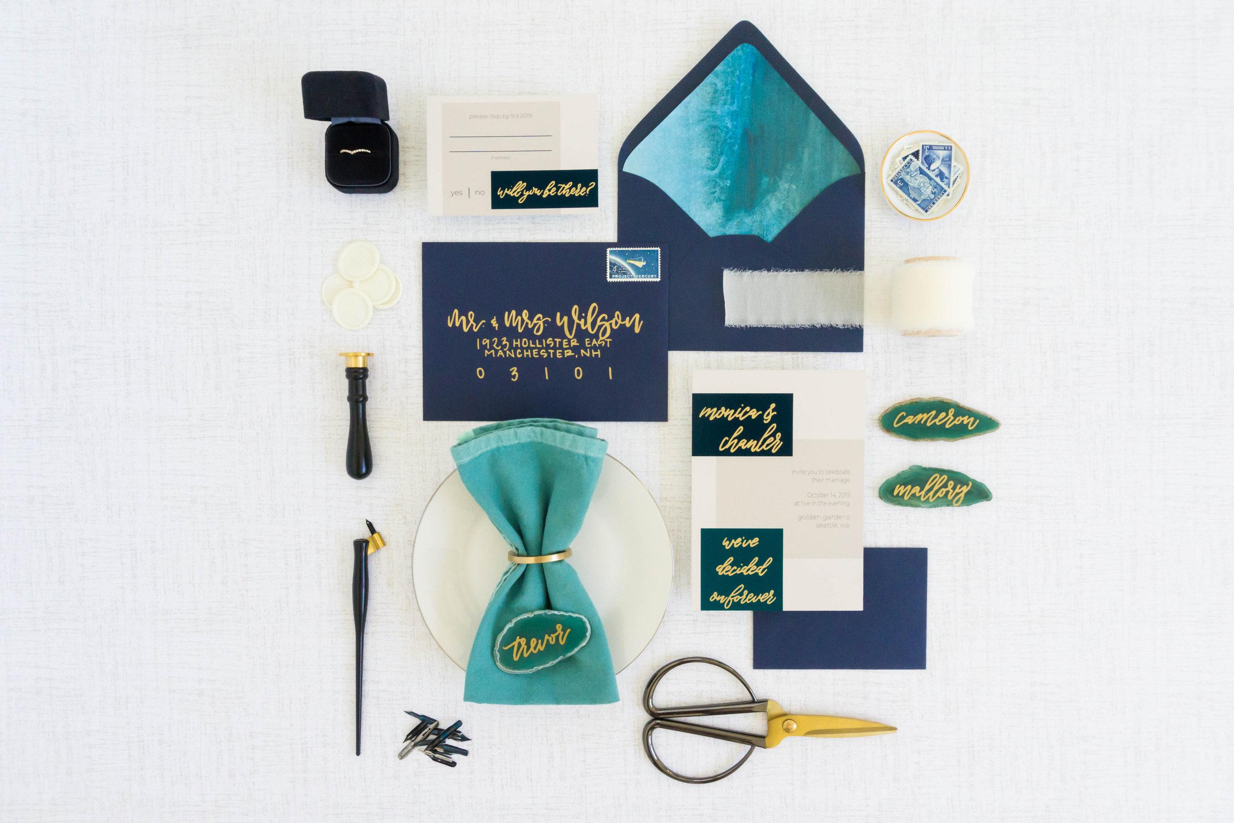 love-fern-design-studio-custom-wedding-invitations-for-the-modern-couple-modern-calligraphy-in-seattle-washington-custom-wedding-stationery-navy-gold-teal-modern-color-block-invitation-suite