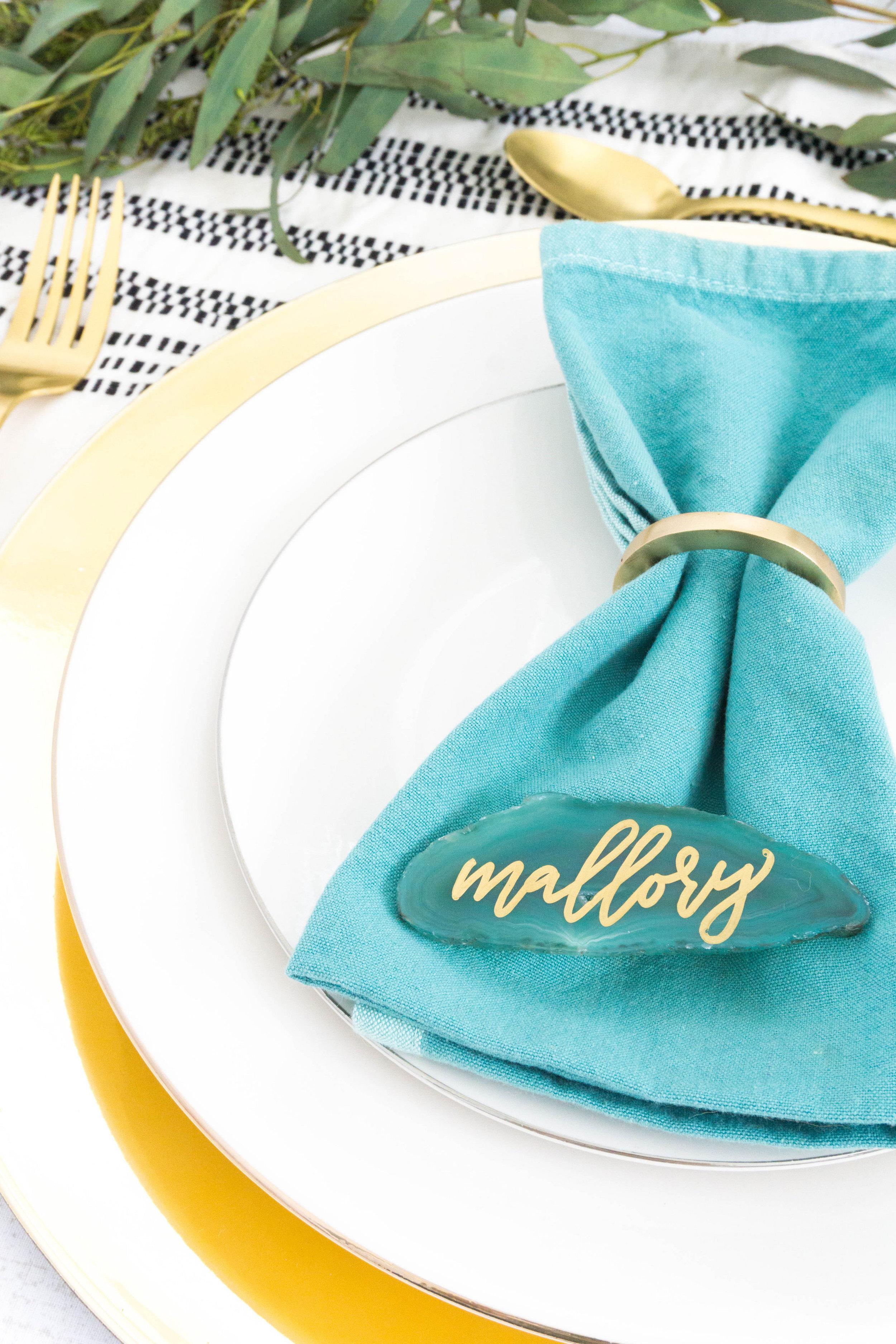 love-fern-design-studio-custom-wedding-invitations-for-the-modern-couple-modern-calligraphy-in-seattle-washington-custom-wedding-stationery-navy-gold-teal-agate-slice-place-card-geode-wedding
