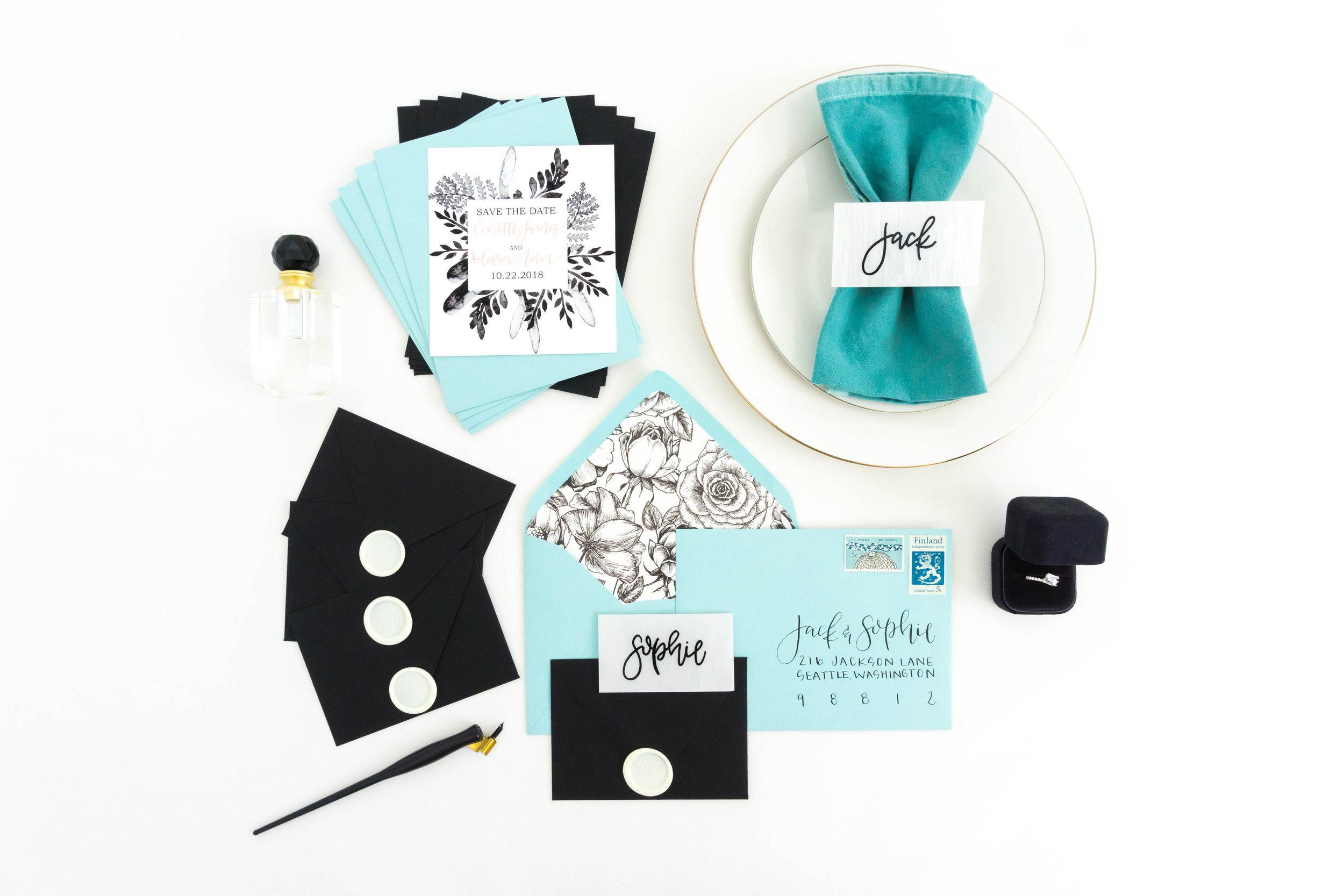 love-fern-design-studio-custom-wedding-invitations-for-the-modern-couple-modern-calligraphy-in-seattle-washington-custom-wedding-stationery-black-watercolor-invitation-teal-envelopes-floral-liner