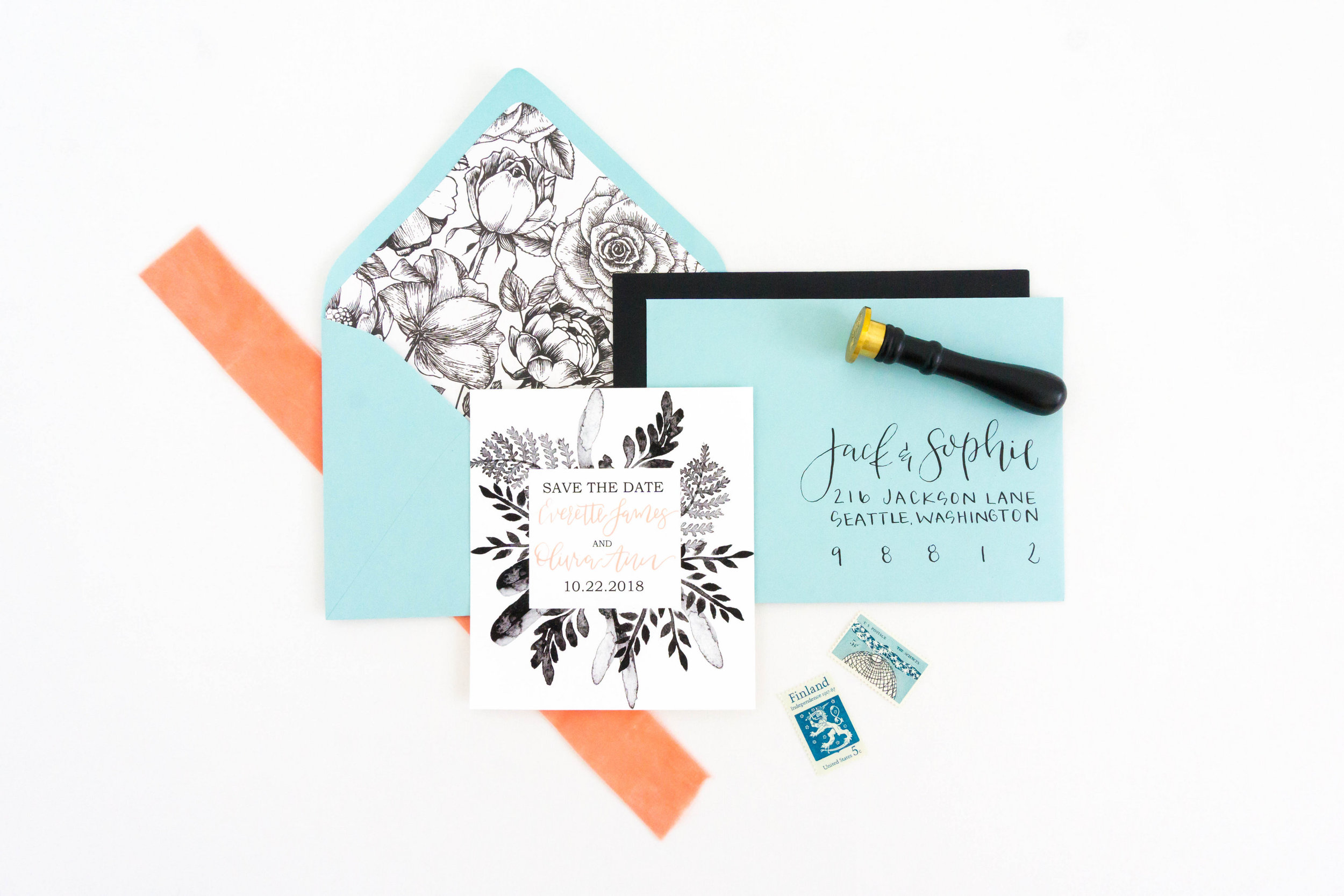 love-fern-design-studio-custom-wedding-invitations-for-the-modern-couple-modern-calligraphy-in-seattle-washington-custom-wedding-stationery-black-watercolor-save-the-date-teal-envelopes-floral-liner