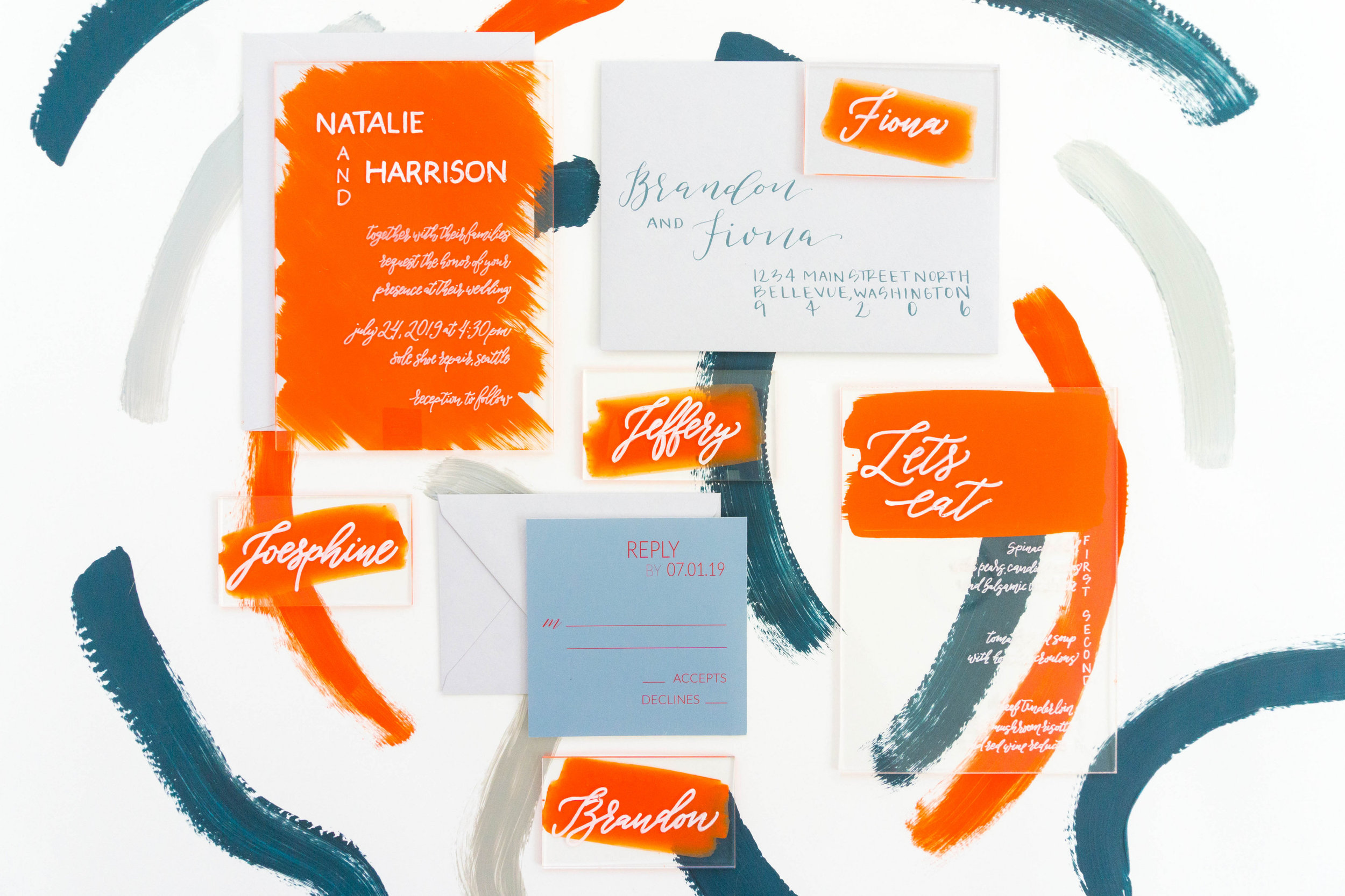 love-fern-design-studio-custom-wedding-invitations-for-the-modern-couple-modern-calligraphy-in-seattle-washington-custom-wedding-stationery-orange-acrylic-invitation-suite-acrylic-menu