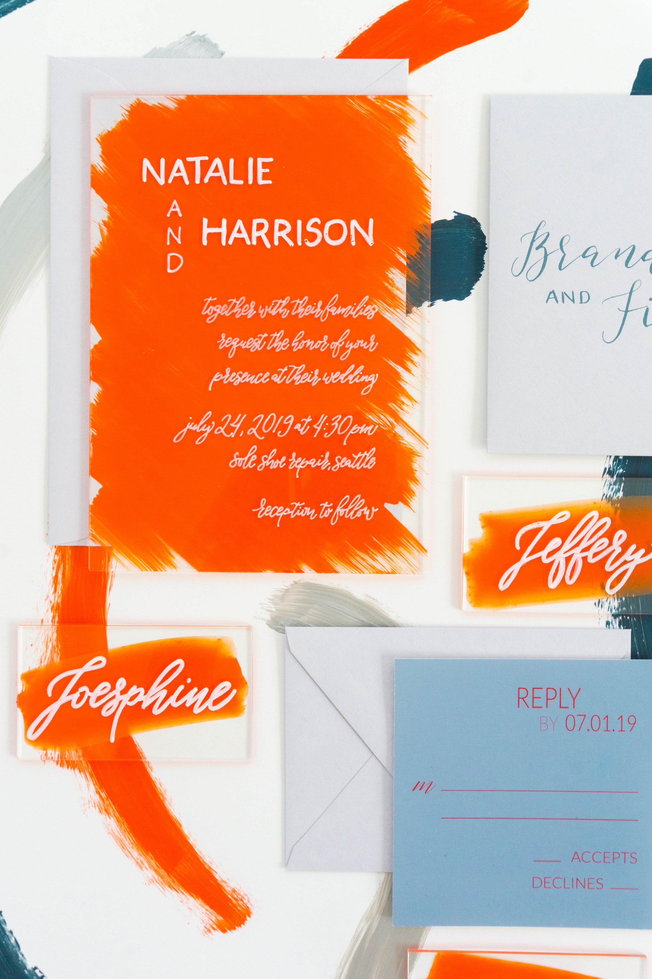 love-fern-design-studio-custom-wedding-invitations-for-the-modern-couple-modern-calligraphy-in-seattle-washington-custom-wedding-stationery-orange-acrylic-invitation-suite-acrylic-menu-and-place-cards