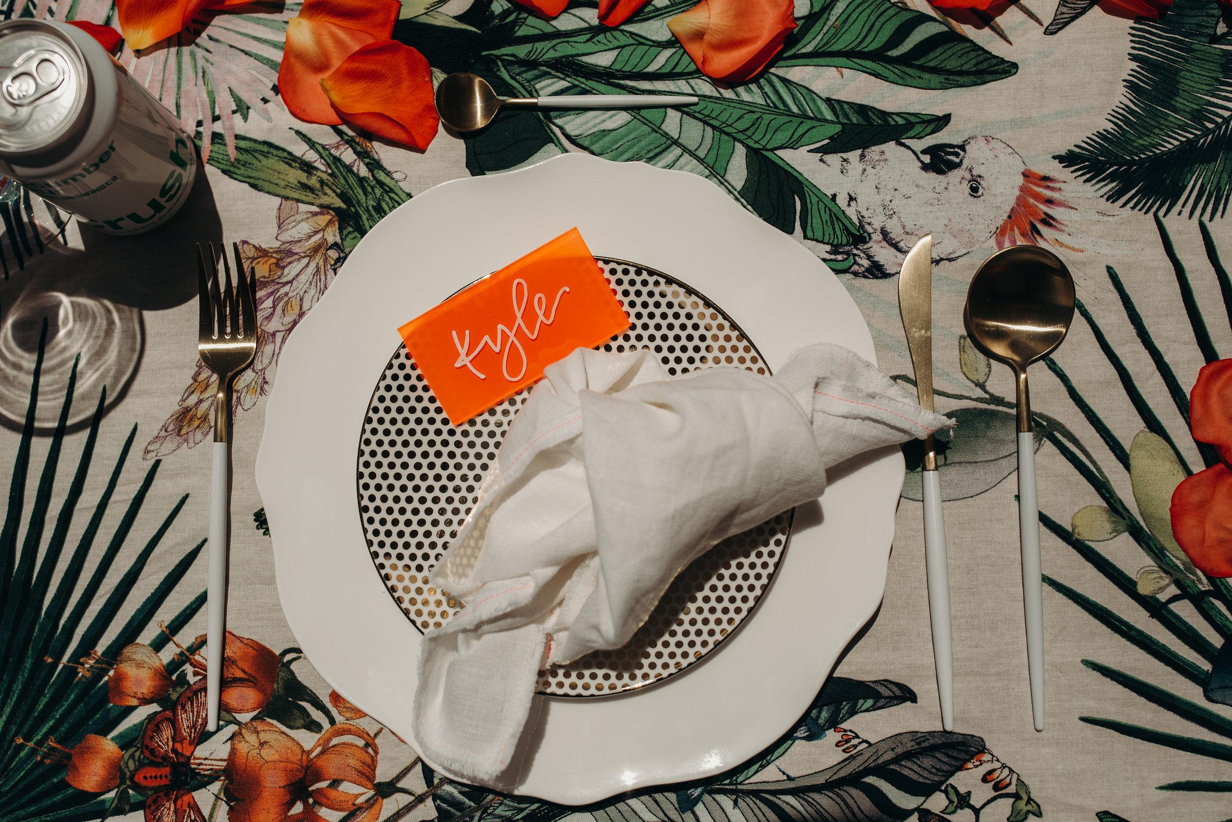 love-fern-design-studio-custom-wedding-invitations-for-the-modern-couple-modern-calligraphy-in-seattle-washington-custom-wedding-stationery-orange-pink-neon-acrylic-invitation-acrylic-place-cards