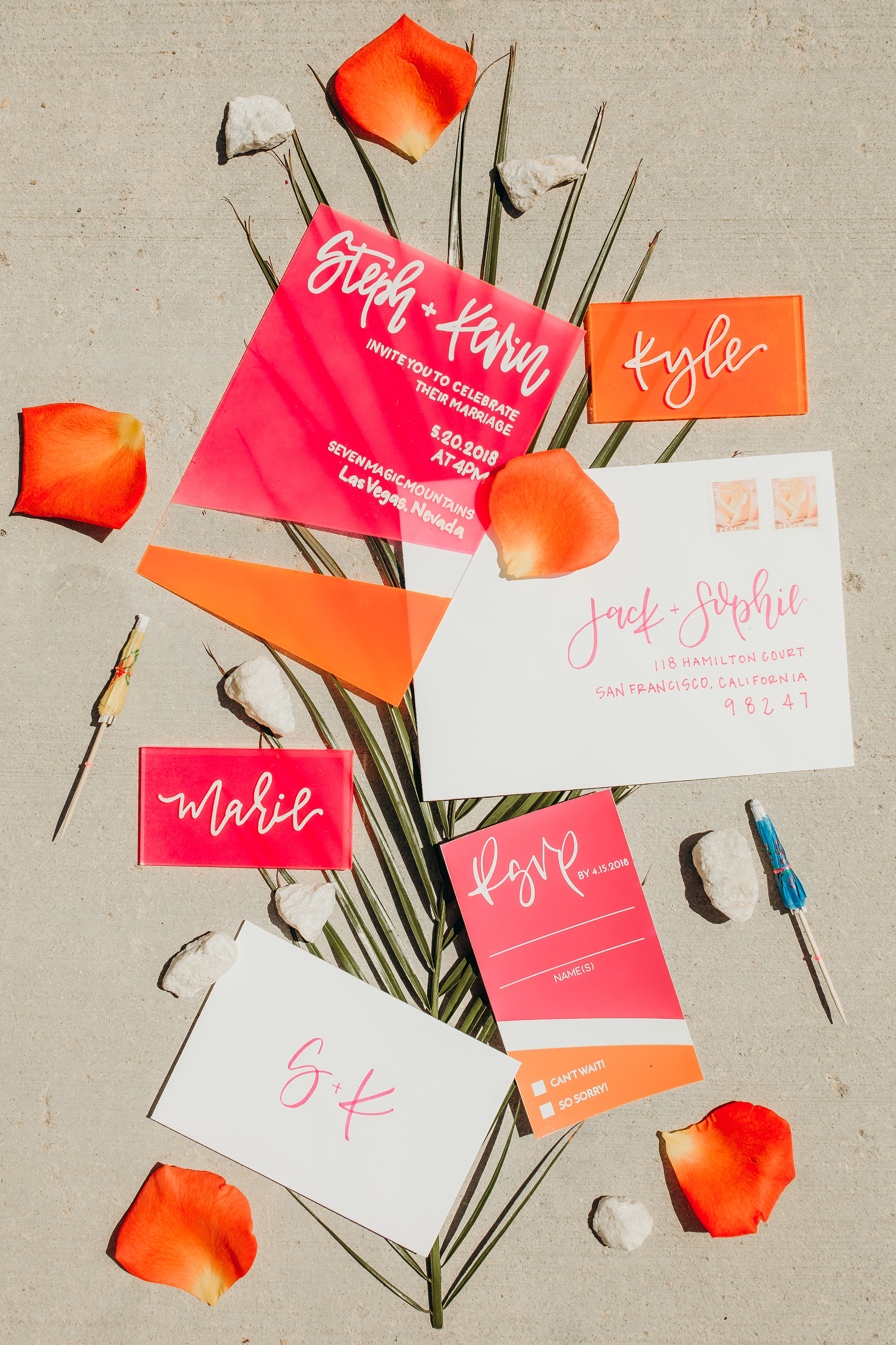 love-fern-design-studio-custom-wedding-invitations-for-the-modern-couple-modern-calligraphy-in-seattle-washington-custom-wedding-stationery-neon-acrylic-retro-Vegas-elopement
