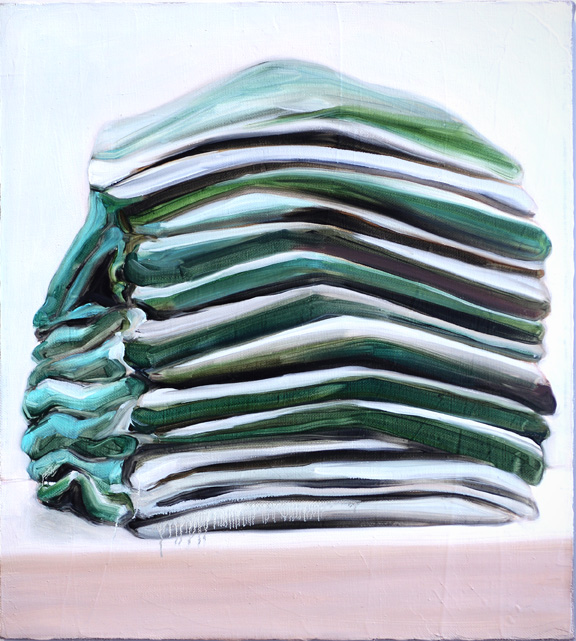 green and white stack