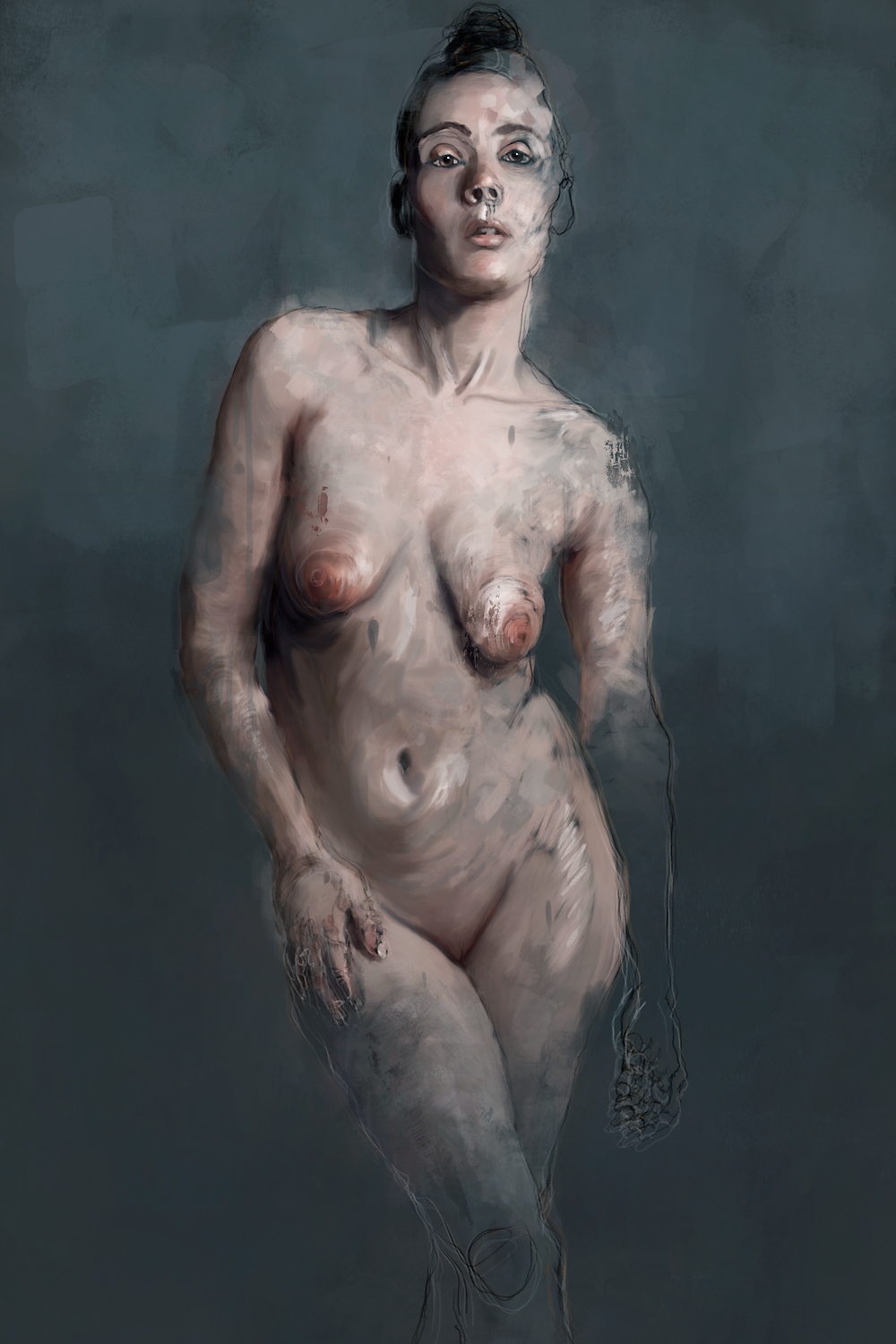 Female Nude Against Green