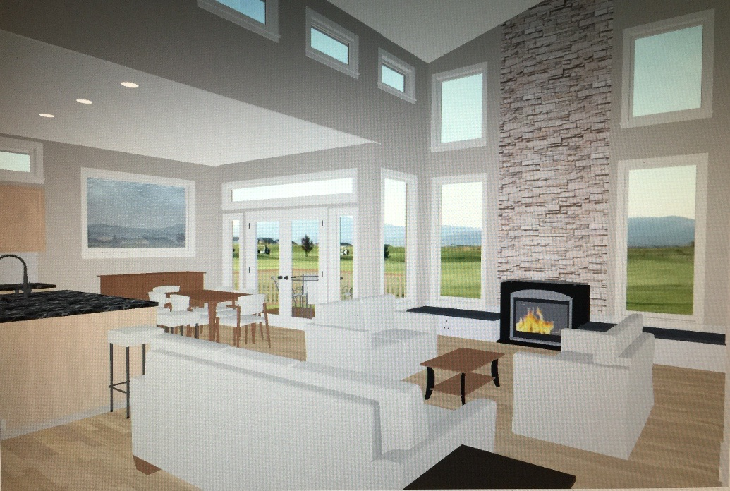 Initial great room and dining room concept