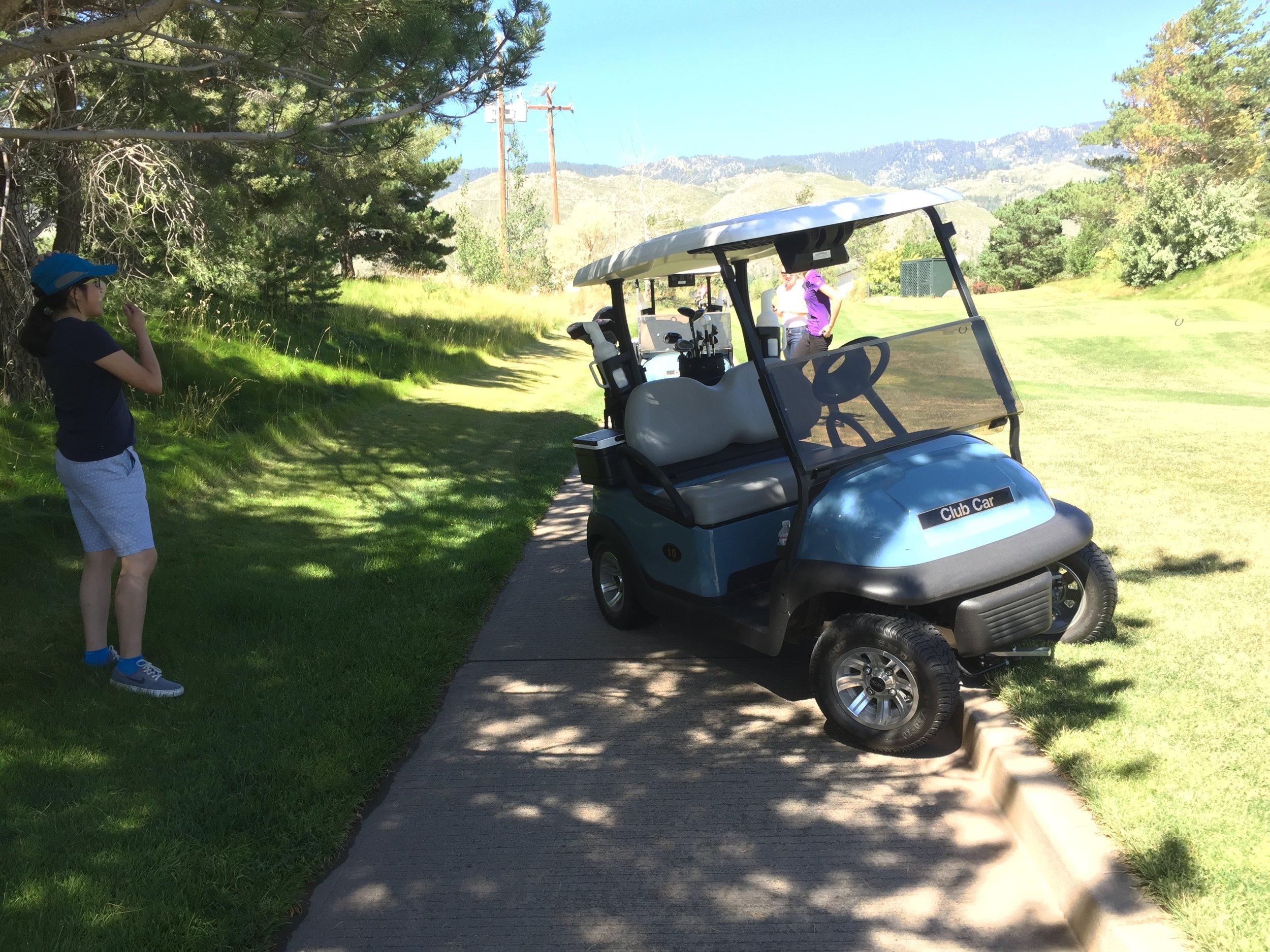 Computational Biologist tries driving a golf cart.