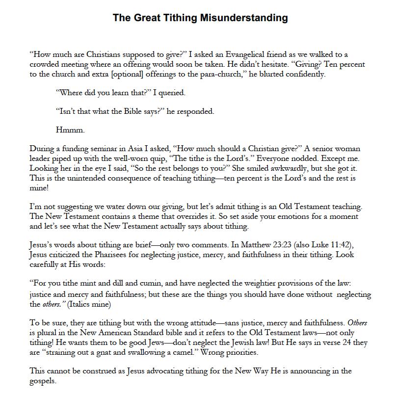 THE GREAT TITHING MISUNDERSTANDING -