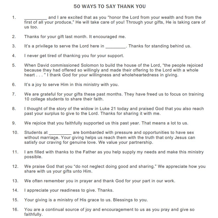 50 WAYS TO SAY THANK YOU -