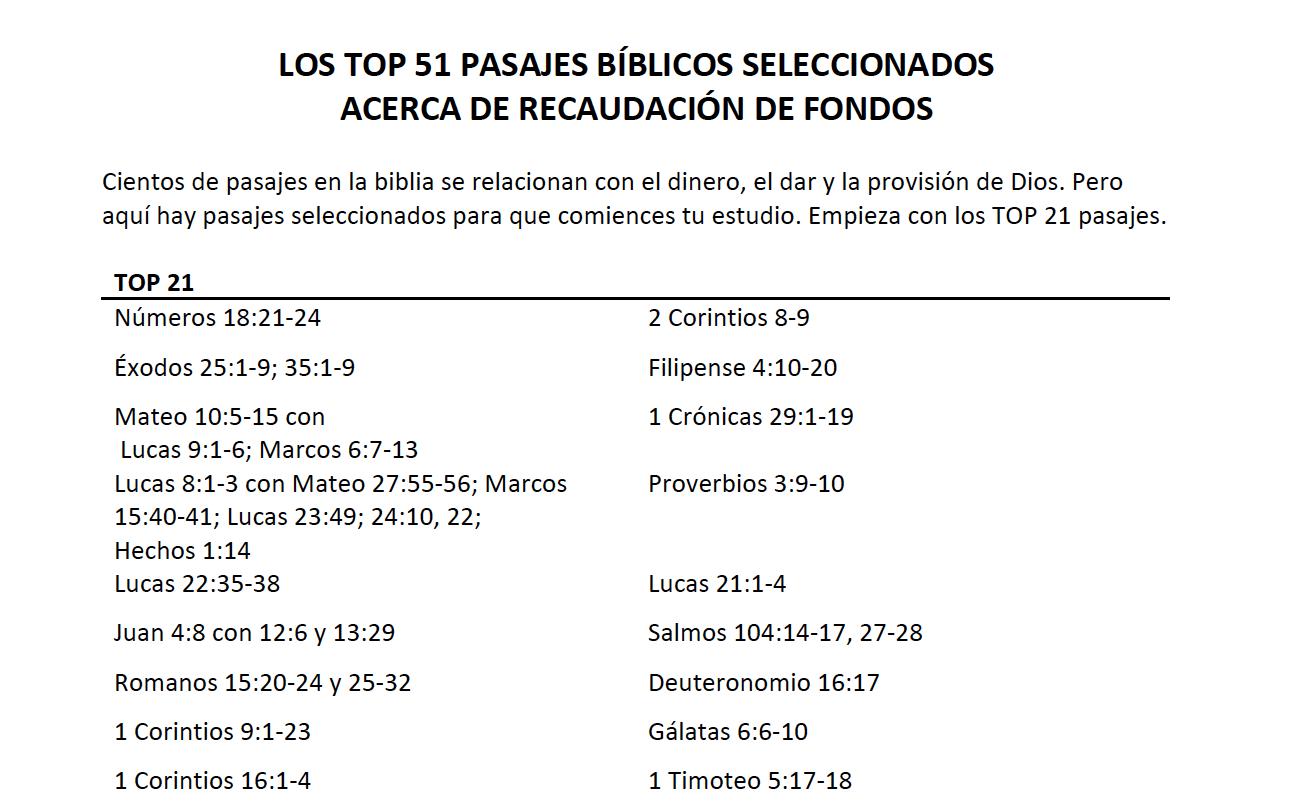 Los TOP 51 Pasajes Bíblicos - Pasajes de la Biblia relacionados con el dinero, el dar y la provisión de Dios. Descarga aquí