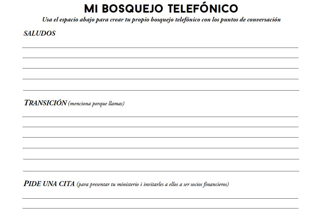 Mi Bosquejo Telefónico - Crea tu esquema de teléfono personal y puntos de conversación. Descarga aquí