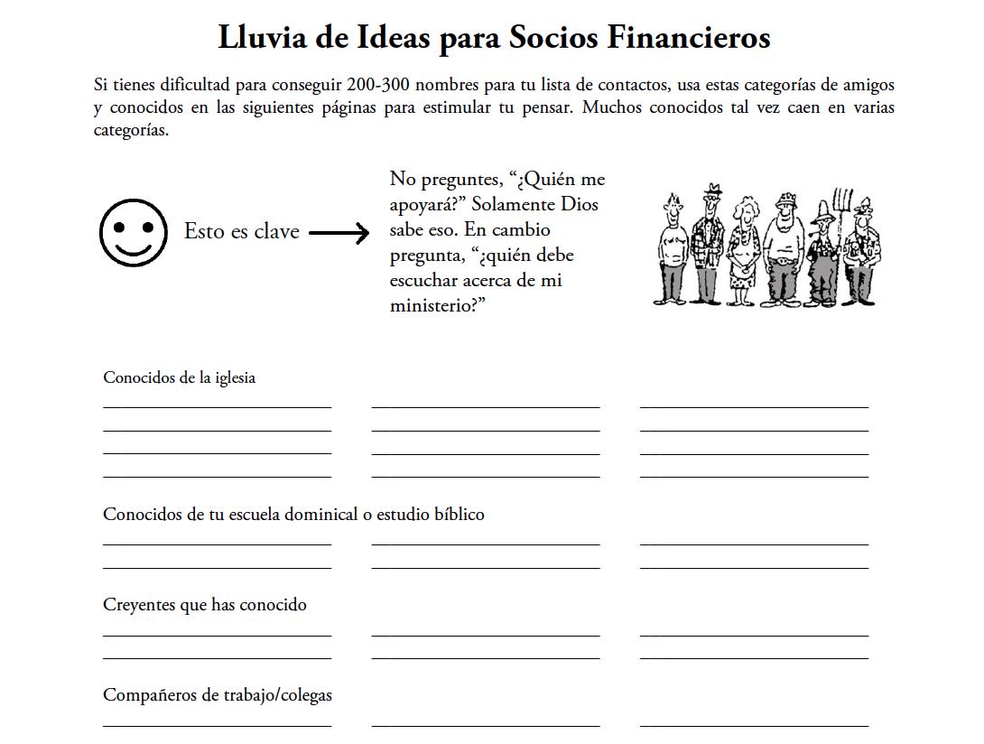 Lluvia de Ideas para Socios Financieros - Use esta hoja de trabajo para ayudarlo a encontrar 200-300 nombres para su lista de correo. Descarga aquí