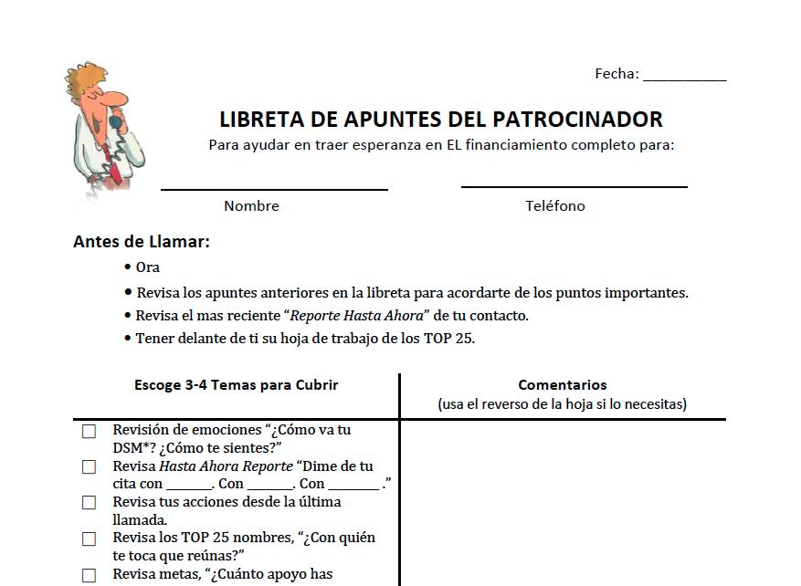 Libreta de Apuntes del Patrocinador - Descarga aquí