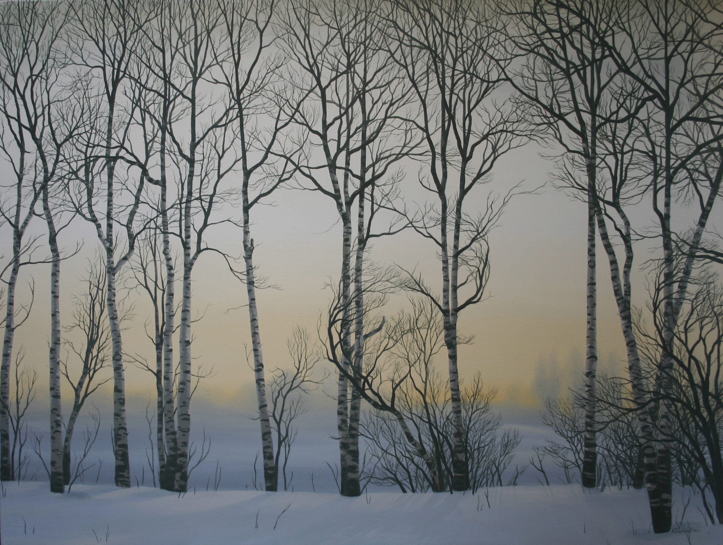 """Winter Twilight"" 36x48 acrylic on canvas"