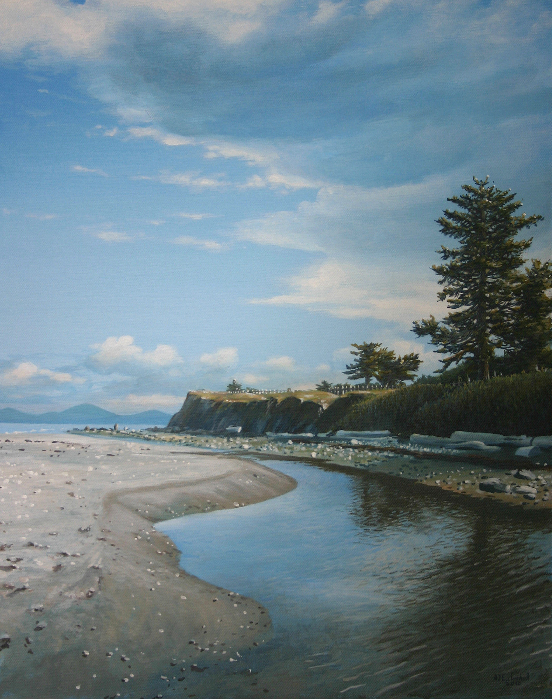 """Whidbey Beach (Wreck of the SS Minow)"" 20x16 acrylic on canvas"