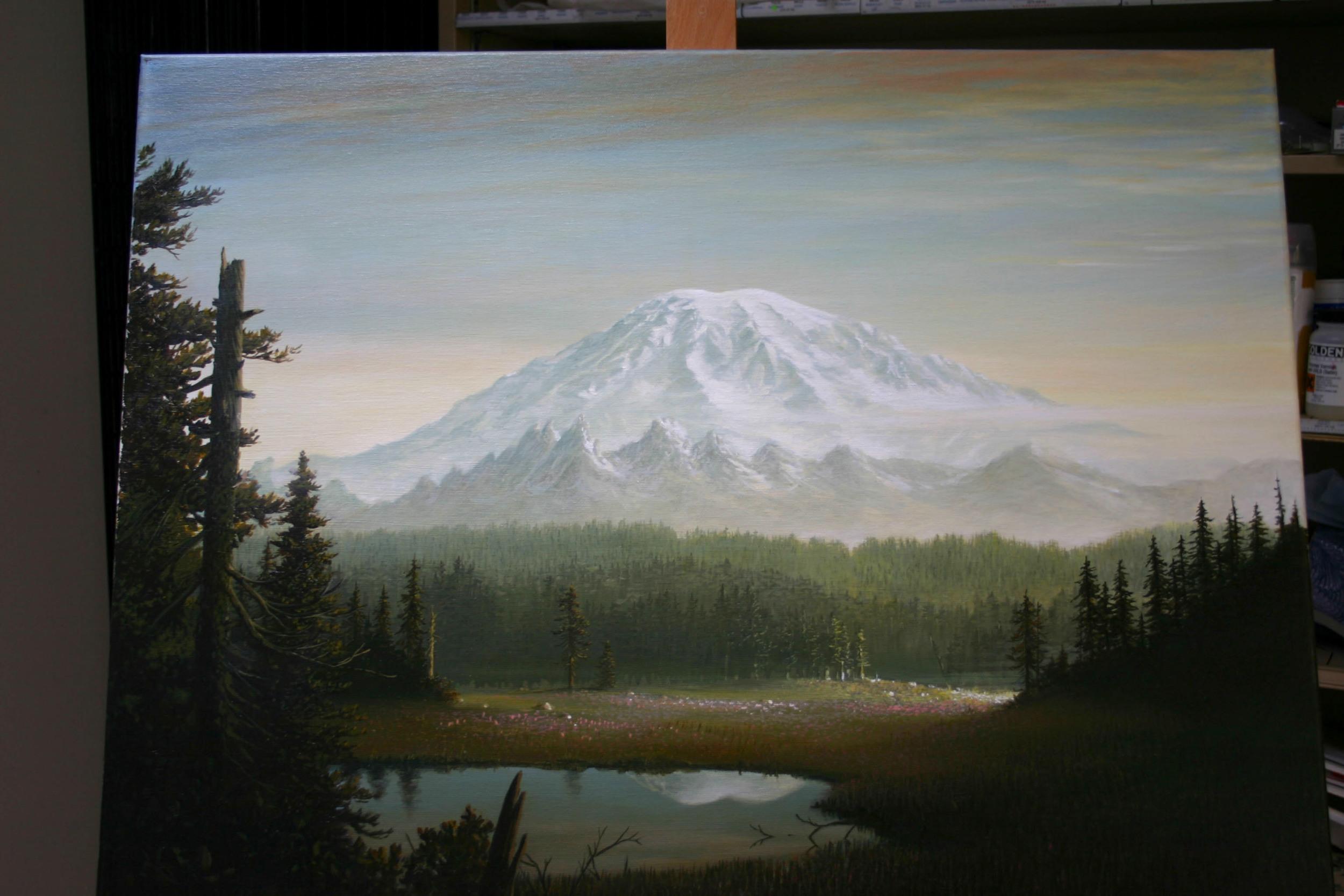 """Rainier Meadow"" fresh off the easel"