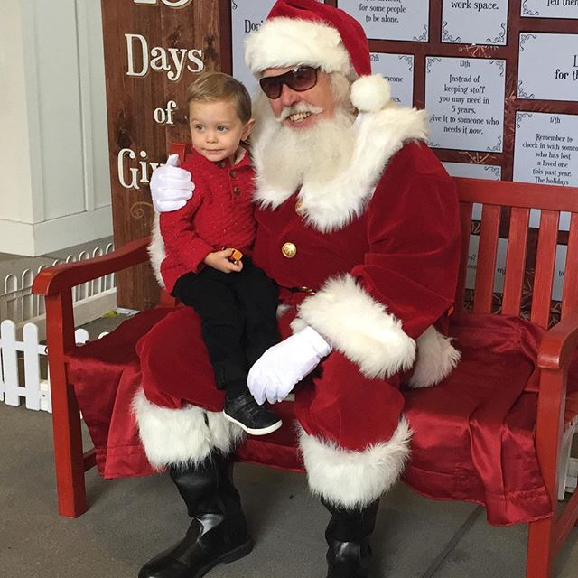 Surf City Santa was a bit of a bust since he wasn't in his airstream due to rain.... lol. But Johnny told him he wants Chick Hick's Mack and Jeff Gorvette's pit crew.... this kid lives and breathes Cars ❤😍