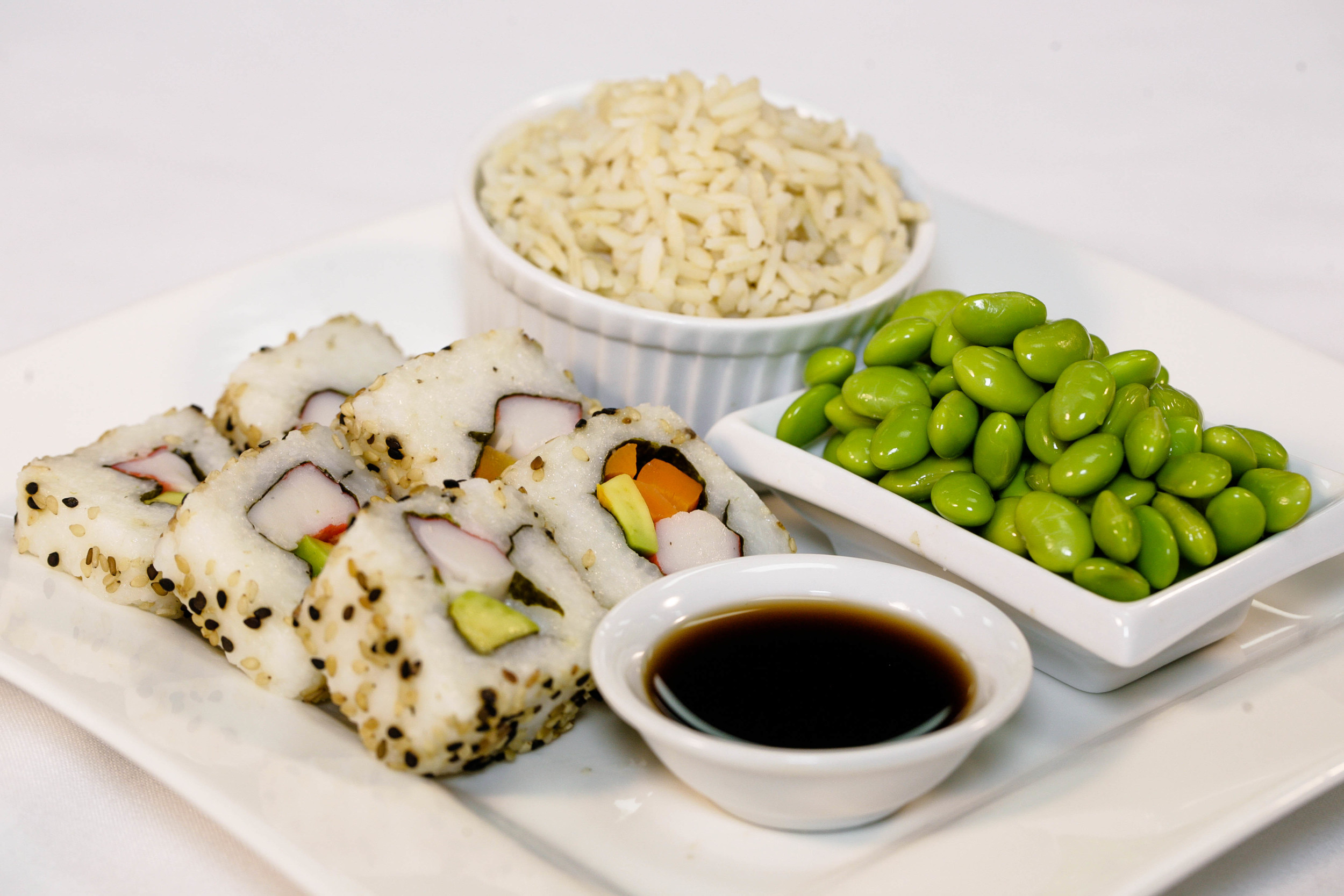 California Rolls with brown rice, edamame and soy sauce