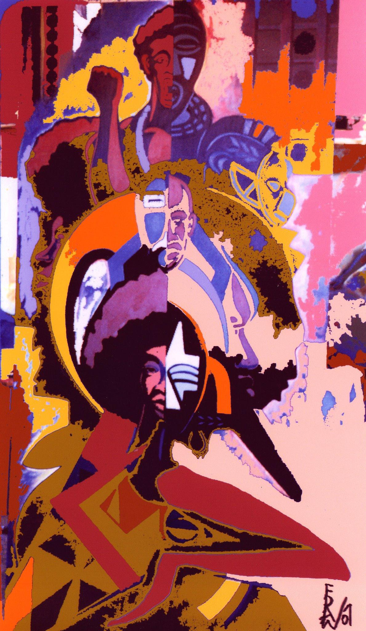 Malcolm, Angela, Martin. Digital Art on Canvas by Eda Wade. 2007