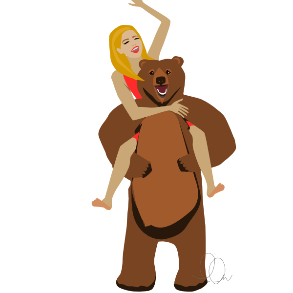 Piggy Back Girl and Bear Illustration from LL-Creative.com