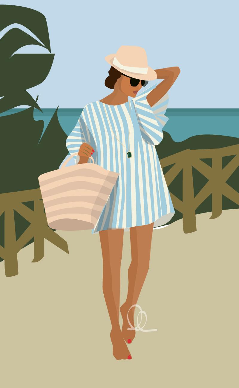 Illustration: Marco Island Beach Girl