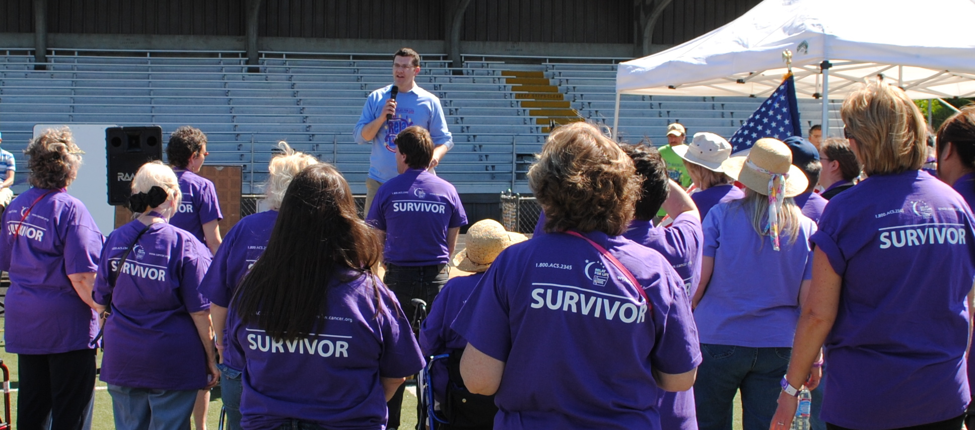 Joe emceeing the Highline Relay for Life opening ceremonies at Memorial Stadium.