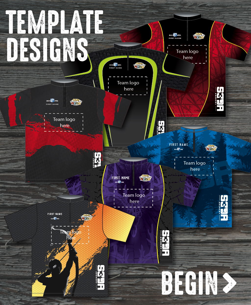 TEMPLATE DESIGN METHOD: Save time and money by adapting an existing design template. We'll incorporate your team logo, color and custom names. Choose from an existing selection of graphics for the background of your shirt.With this option, your setup is a flat $60 for the order.  Begin