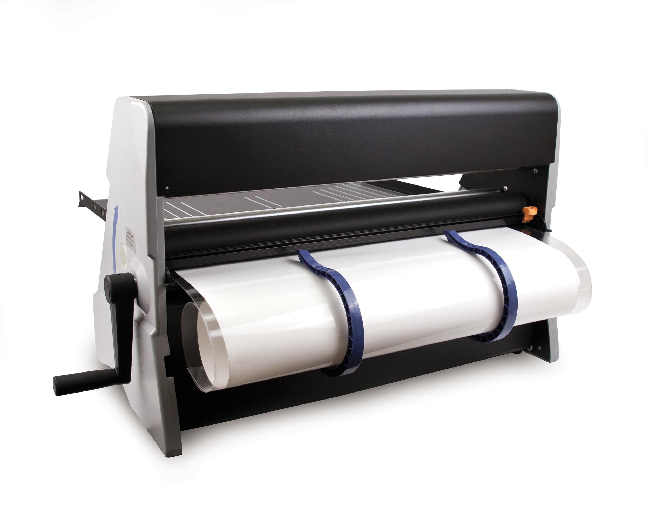 Built-in banner catcher conveniently rolls up longer items for you.