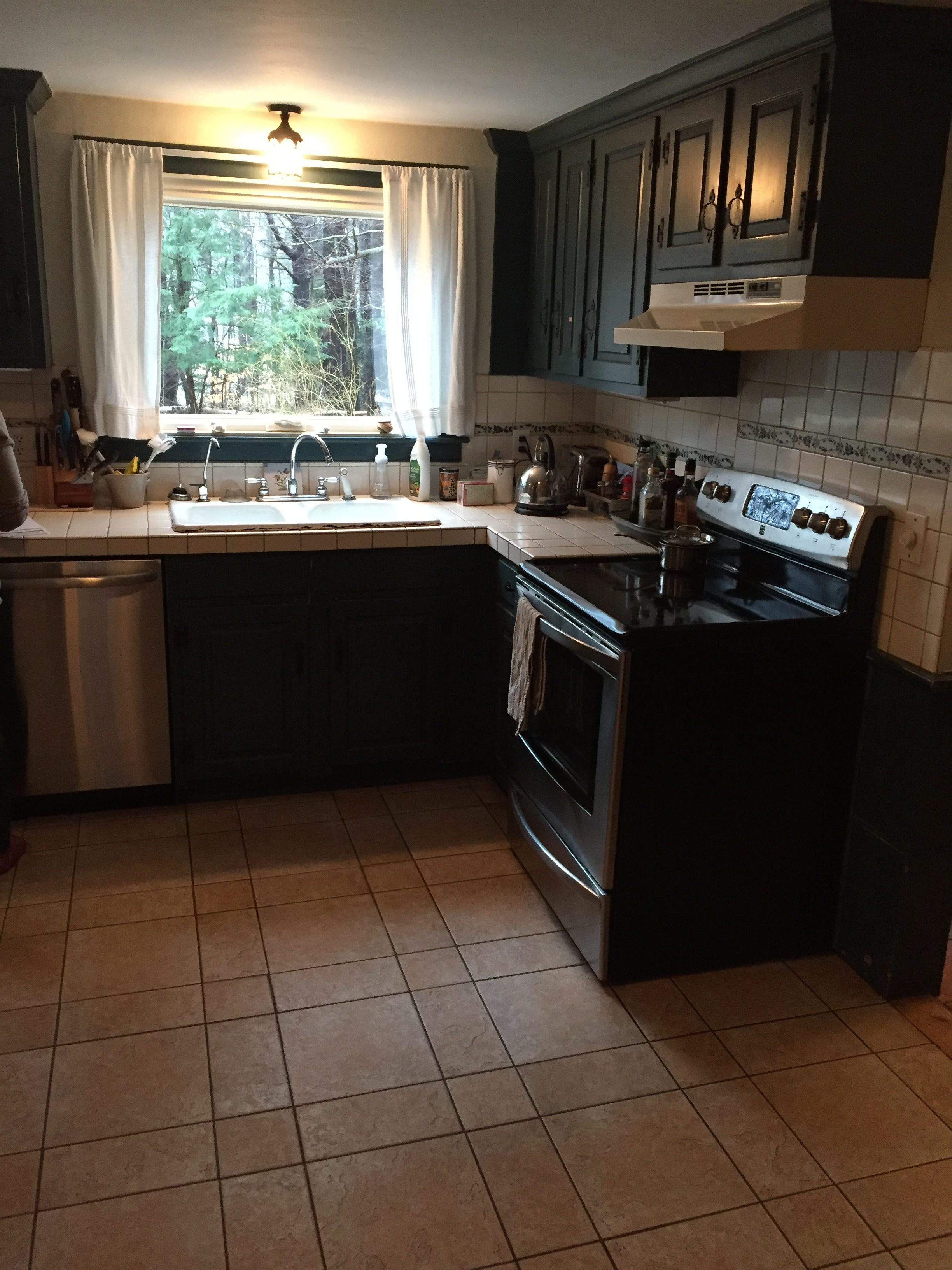 Our client was craving a brighter space that offered more counter top surface for food prep and entertaining.  They wanted to keep the existing tile floor and most appliances and fixtures in their current locations.