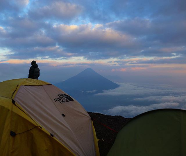 2.17.2018 - Our camp on Acatenango with Pacaya in the distance. #guatemala