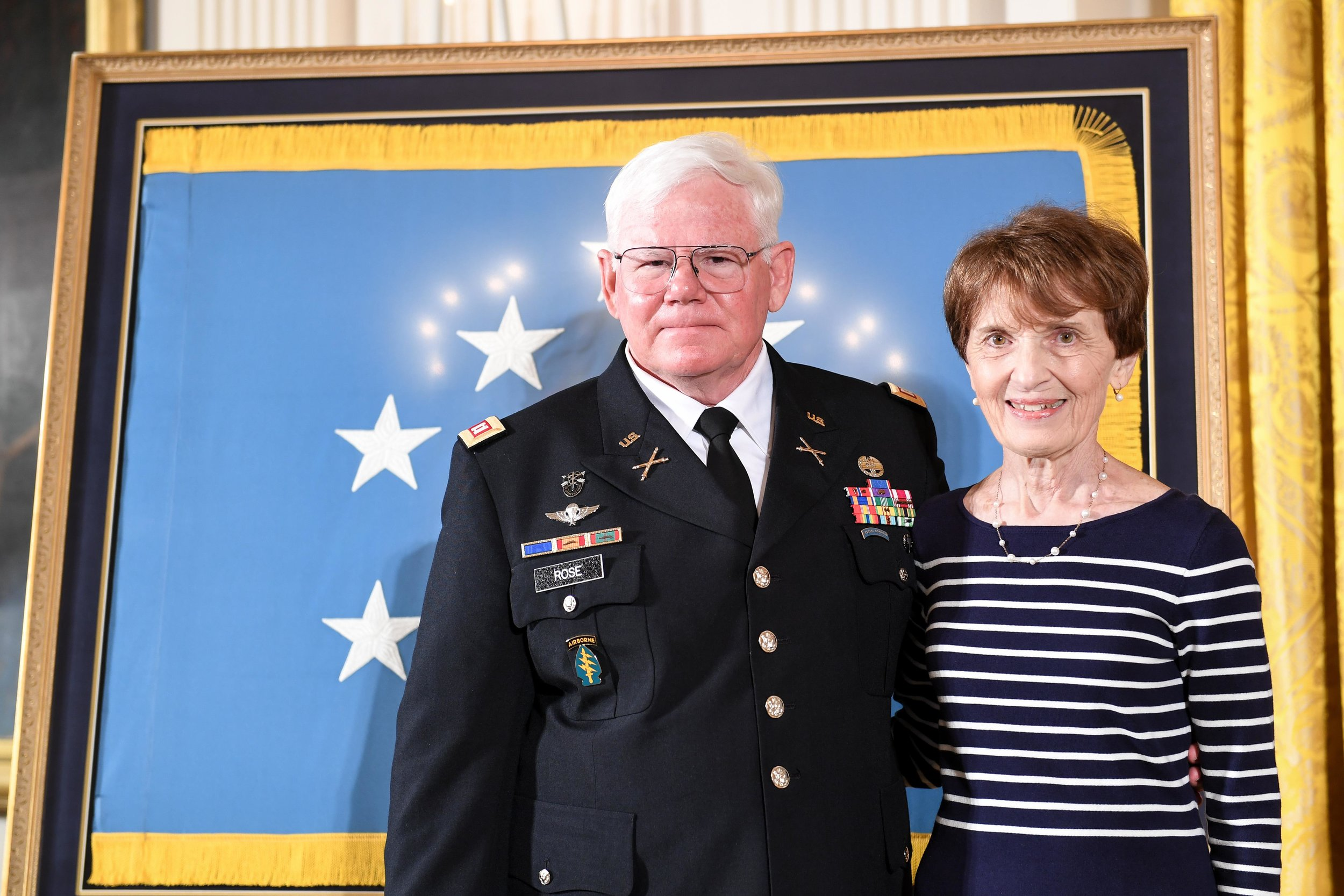 Retired Army Capt. Gary M. Rose and his wife, Margaret, prepare to attend his Medal of Honor ceremony at the White House, Oct. 23, 2017. Army photo by Spc. Tammy Nooner