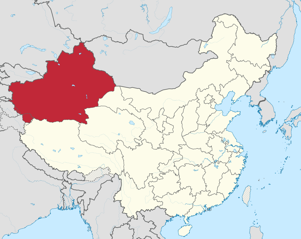 Xinjang Highlighted In Red